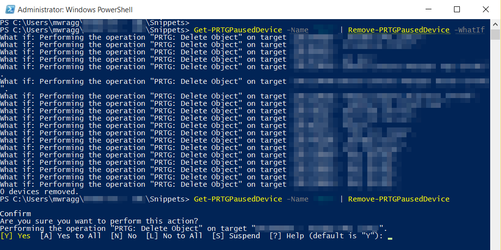Powershell pipeline functions to clean up paused devices