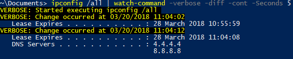 Watch-Command example monitoring ipconfig change